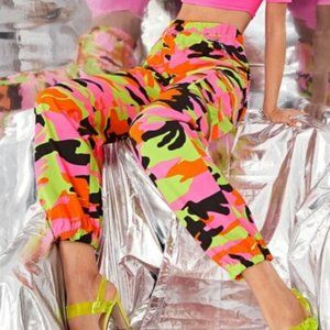 Shein Camo Pants Joggers Bright Neon Colors Large